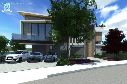 FACHADA PRINCIPAL: Casas de estilo moderno por ArqCubo