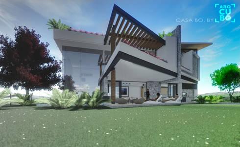 FACHADA POSTERIOR: Jardines de estilo moderno por ArqCubo