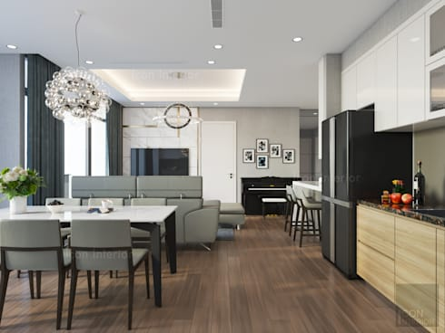 Phong cách hiện đại tại căn hộ Vinhomes Central Park đơn giản mà sang trọng:  Phòng ăn by ICON INTERIOR