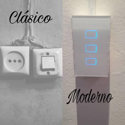 Interruptor Táctil: Habitaciones de estilo moderno por Bittat