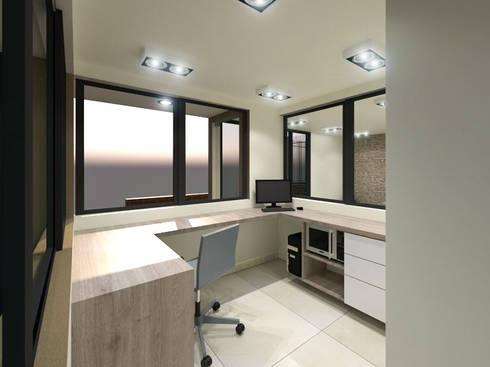 Area de Vigilancia: Habitaciones de estilo minimalista por Pinto Arquitectura