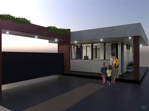 Fachada3: Conjunto residencial de estilo  por Pinto Arquitectura