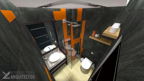 Diseño de Baño sec. Res. La Arboleda: Baños de estilo moderno por arqyosephlopez