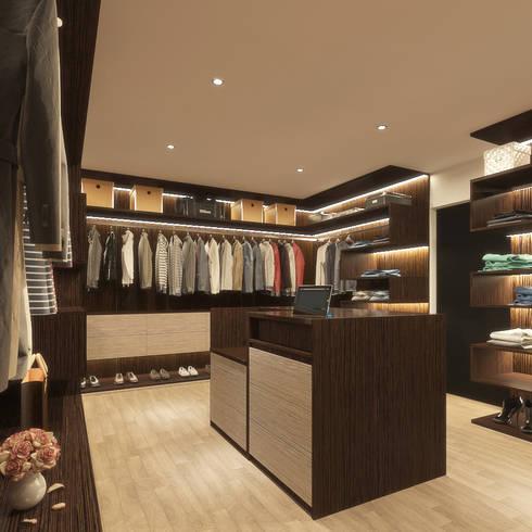 WALK-IN CLOSET : modern Bedroom by Linken Designs