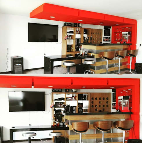 bar en casa: Sala multimedia de estilo  por Trazos Studio SAS