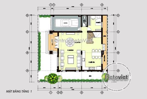 Mặt bằng tầng 1 mẫu thiết kế biệt thự 3 tầng Tân cổ điển kiểu Pháp (CĐT: Ông Khải - Bắc Ninh) KT17107:   by Công Ty CP Kiến Trúc và Xây Dựng Betaviet
