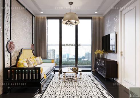 XU HƯỚNG ĐÔNG DƯƠNG ẤN TƯỢNG – Thiết kế căn hộ Vinhomes Golden River:  Phòng khách by ICON INTERIOR