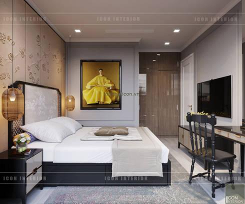 XU HƯỚNG ĐÔNG DƯƠNG ẤN TƯỢNG – Thiết kế căn hộ Vinhomes Golden River:  Phòng ngủ by ICON INTERIOR