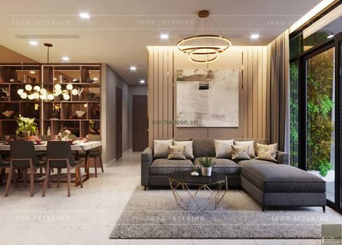 THIẾT KẾ NỘI THẤT CAO CẤP HOÀN CHỈNH CHO CĂN HỘ VINHOMES:  Phòng khách by ICON INTERIOR