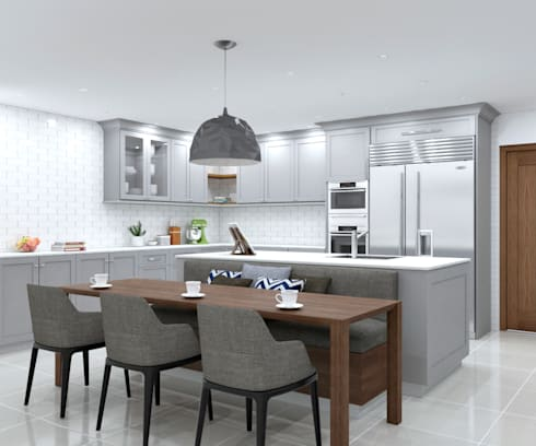 SANDTON KITCHEN - Dining table view:  Built-in kitchens by Linken Designs