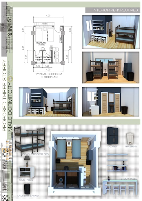 Typical bedroom floorplan:   by Sindac Architectural Design and Consultancy