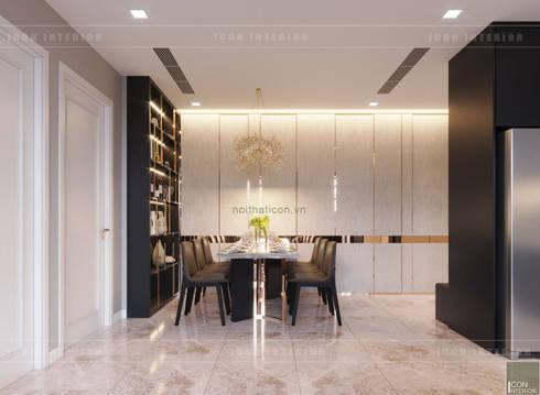 Căn hộ phong cách hiện đại: Không gian sống hoàn hảo cho gia đình bận rộn!:  Phòng ăn by ICON INTERIOR