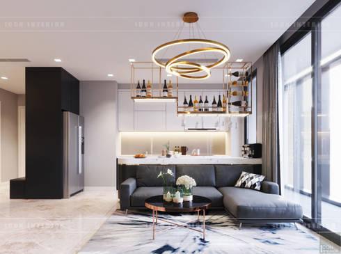 Căn hộ phong cách hiện đại: Không gian sống hoàn hảo cho gia đình bận rộn!:  Phòng khách by ICON INTERIOR