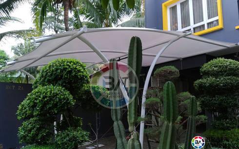 Tenda Membrane Jakarta (Garasi Mobil):  Balconies, verandas & terraces  by Braja Awning & Canopy