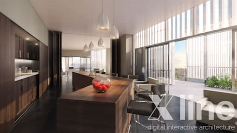 One 88 by Xline 3D : modern Dining room by Xline 3D Digital Architecture