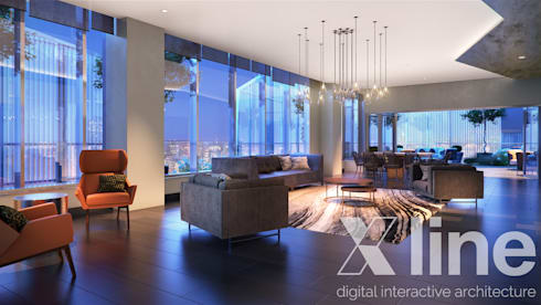 One 88 by Xline 3D : modern Living room by Xline 3D Digital Architecture