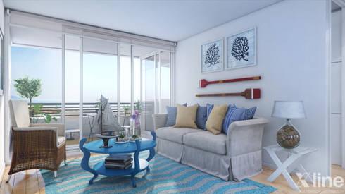Altos de Puyai by Xline 3D: modern Living room by Xline 3D Digital Architecture
