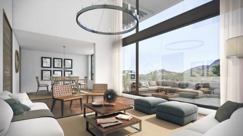 Depthouse Los Trapenses – Castro & Tagle Inmobiliaria: Livings de estilo moderno por Xline chile