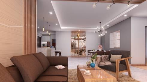 Thiết kế & Thi công Nội Thất Căn hộ – GoldView Quận 4:  Phòng khách by Công ty ĐT-TV Thiết Kế & Xây Dựng ECO