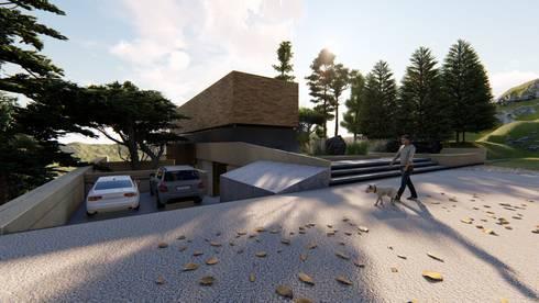Casa Entre Rocas: Casas campestres de estilo  por Mimesis Arquitectura y diseño
