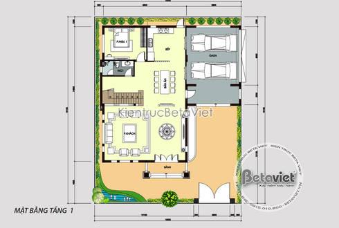Mặt bằng tầng 1 mẫu biệt thự Tân cổ điển 3 tầng đẹp hoành tráng  (CĐT: Ông Xuất - Yên Bái) KT18035:   by Công Ty CP Kiến Trúc và Xây Dựng Betaviet