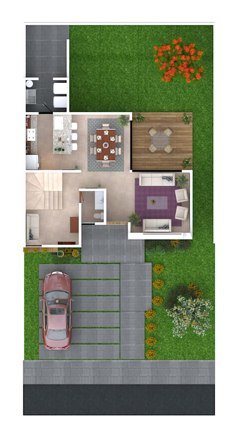 Planta Baja: Casas ecológicas de estilo  por iQbit, SA de CV