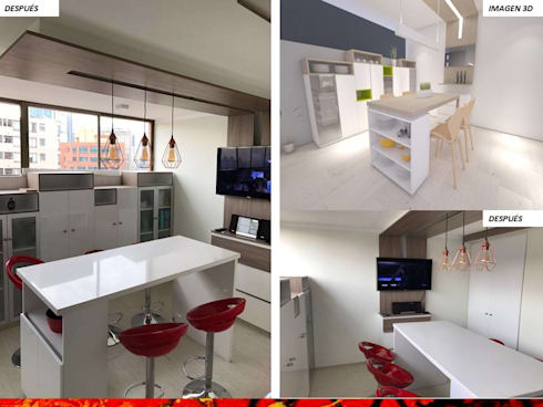 DISEÑO INTERIOR: Cocinas equipadas de estilo  por H3A ARQUITECTOS