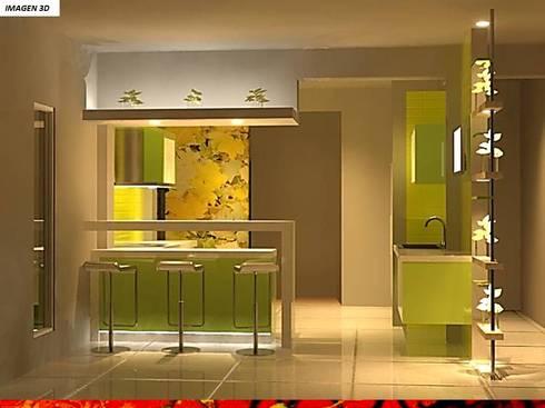 DISEÑO INTERIOR: Muebles de cocinas de estilo  por H3A ARQUITECTOS