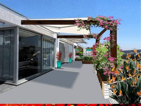 PAISAJISMO DISEÑO DE JARDINES: Terrazas  de estilo  por H3A ARQUITECTOS
