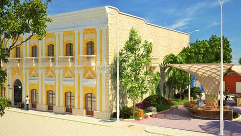 Diseño paisajista en inmediaciones de la edificación :  de estilo  por A.BORNACELLI