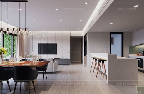 Thiết căn hộ Gateway Thảo Điền: Đẳng cấp của một căn hộ phong cách hiện đại :  Nhà bếp by ICON INTERIOR