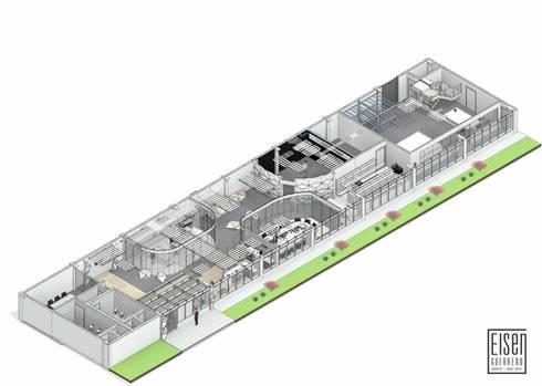 Planta y corte Isométrico 01 (Planta Distribución): Oficinas de estilo escandinavo por Eisen Arquitecto