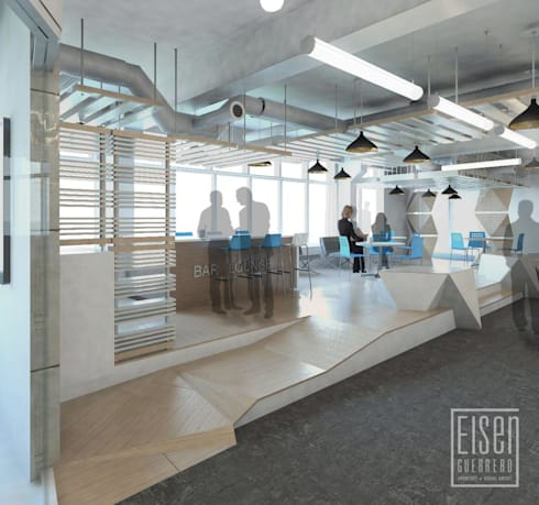 Coffe y Loungue. Espacio del Deck.: Oficinas de estilo escandinavo por Eisen Arquitecto