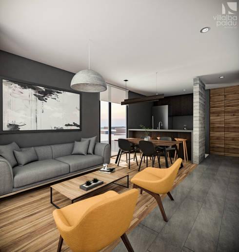 AM Departamentos: Salas de estilo  por Villalba Palau Arquitectos