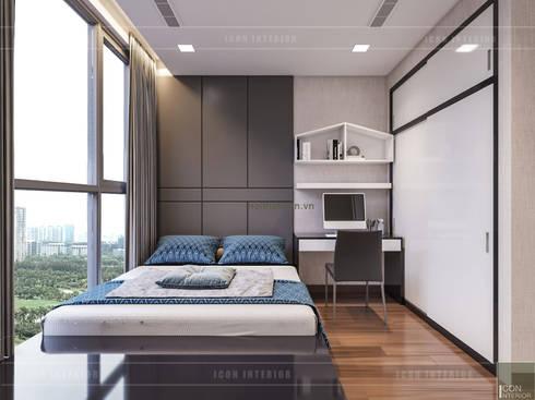 Thiết kế phong cách hiện đại tiện nghi cho căn hộ Park 7 Vinhomes Central Park:  Phòng ngủ by ICON INTERIOR