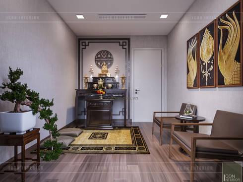 Thiết kế phong cách hiện đại tiện nghi cho căn hộ Park 7 Vinhomes Central Park:  Phòng khách by ICON INTERIOR