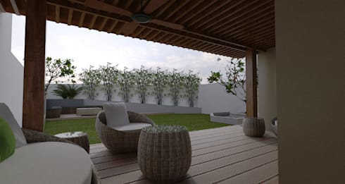 Major renovation and expansion project in Talisay City - Garden and Lounge area:  Terrace by Architecture Creates Your Environment Design Studio
