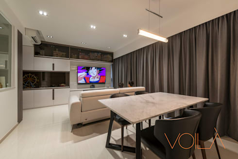 27 Anchorvale Crescent, Bellewaters: modern Dining room by VOILÀ Pte Ltd