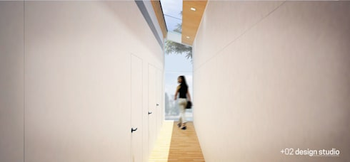 Slice House:  Corridor and hallway by Plus Zero Two Design Studio