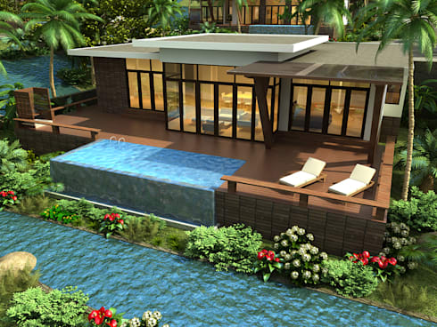 Biệt thự 2 tầng đẹp:   by Công ty thiết kế biệt thự đẹp VAG