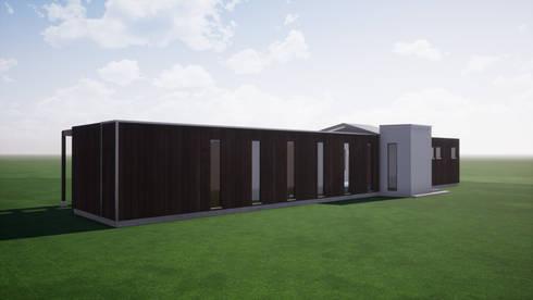 Fachada sur_ piel exterior y aislación: Casas ecológicas de estilo  por BIM Urbano