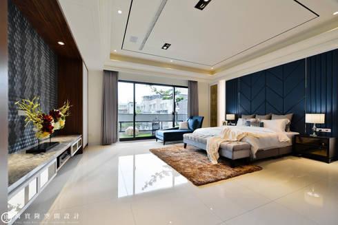 住盛不動產/天鑽V-金迷風尚:  臥室 by SING萬寶隆空間設計