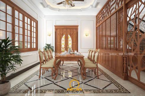 Dự án thiết kế nội thất tân cổ điển cho nhà liền kề:  Nhà bếp by Nội thất Long Thành