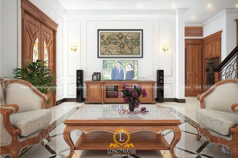 Dự án thiết kế nội thất tân cổ điển cho nhà liền kề:  Phòng khách by Nội thất Long Thành