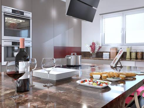 Burgundy Gloss Kitchen View 2:  Built-in kitchens by Linken Designs