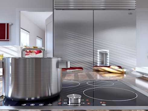 Burgundy Gloss Kitchen View 3:  Built-in kitchens by Linken Designs
