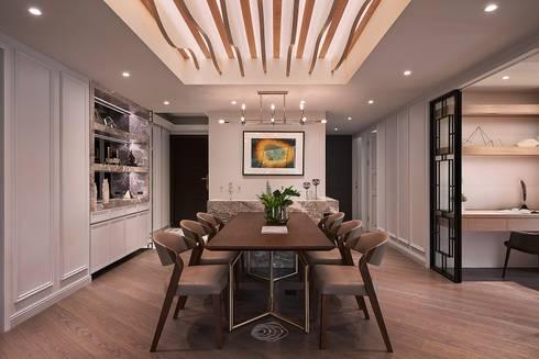 細膩質感景觀宅:  餐廳 by 層層室內裝修設計有限公司
