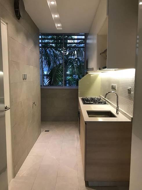 MONOCHROMATIC MINIMALIST THEME: minimalistic Kitchen by Singapore Carpentry