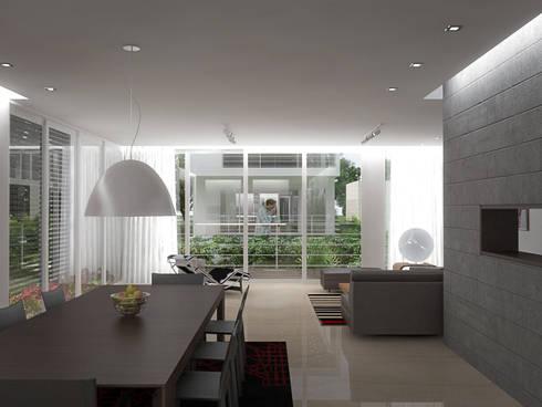 5 Casas en Miami: Salas / recibidores de estilo minimalista por RRA Arquitectura