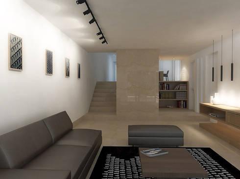 Lomas de Las Mercedes: Salas / recibidores de estilo minimalista por RRA Arquitectura